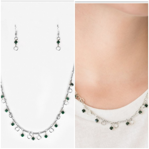DINNER PARTY DEMURE GREEN NECKLACE/EARRING SET
